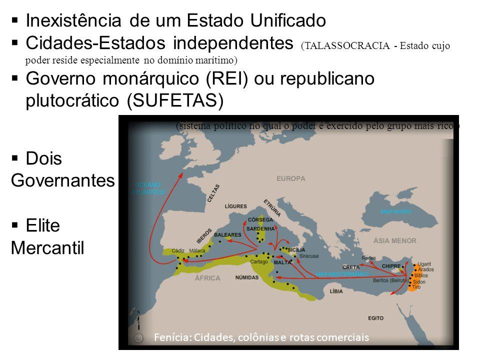 Fenícia: Cidades, colônias e rotas comerciais Inexistência de um Estado Unificado Cidades-Estados independentes (TALASSOCRACIA - Estado cujo poder res