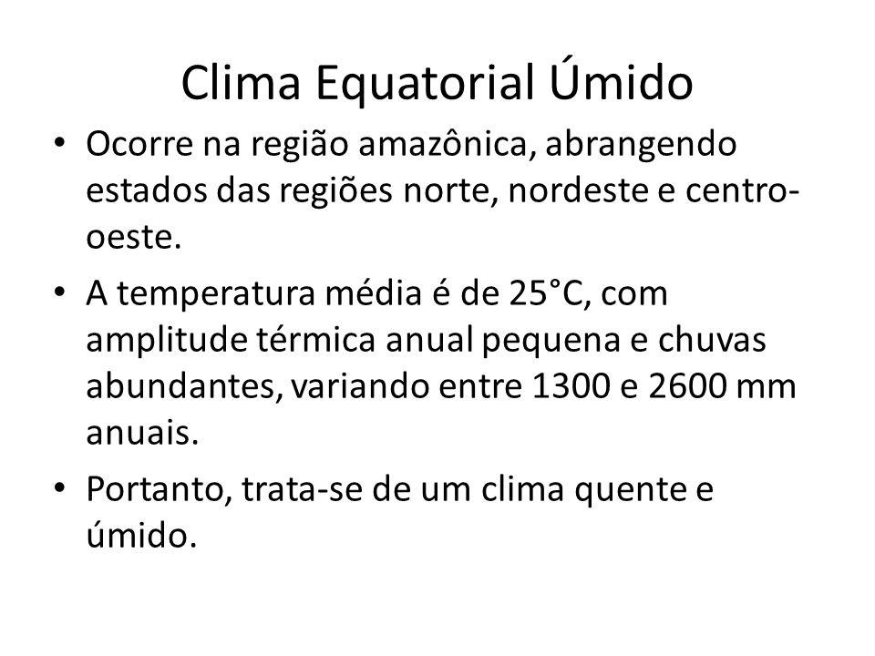 Clima Equatorial Úmido Ocorre na região amazônica, abrangendo estados das regiões norte, nordeste e centro- oeste.