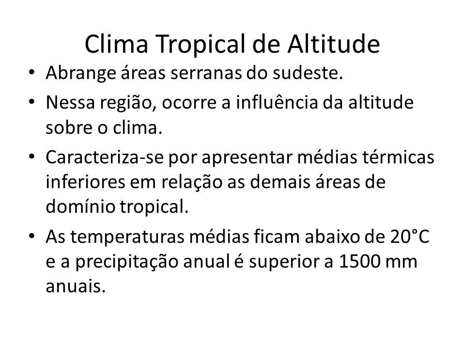 Clima Tropical de Altitude Abrange áreas serranas do sudeste.