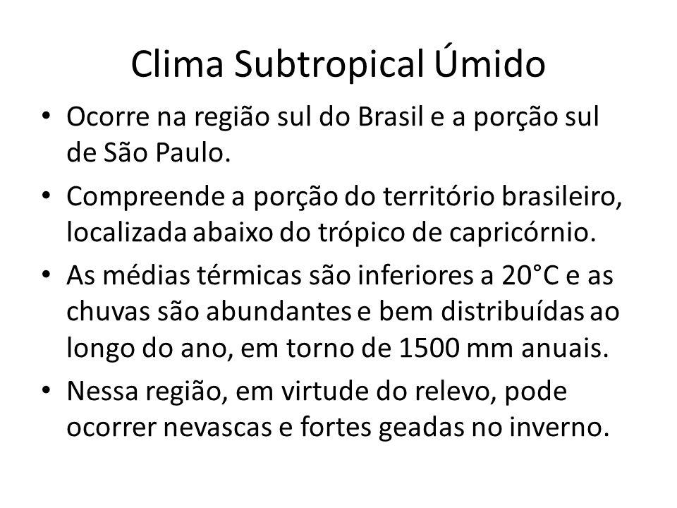 Clima Subtropical Úmido Ocorre na região sul do Brasil e a porção sul de São Paulo.