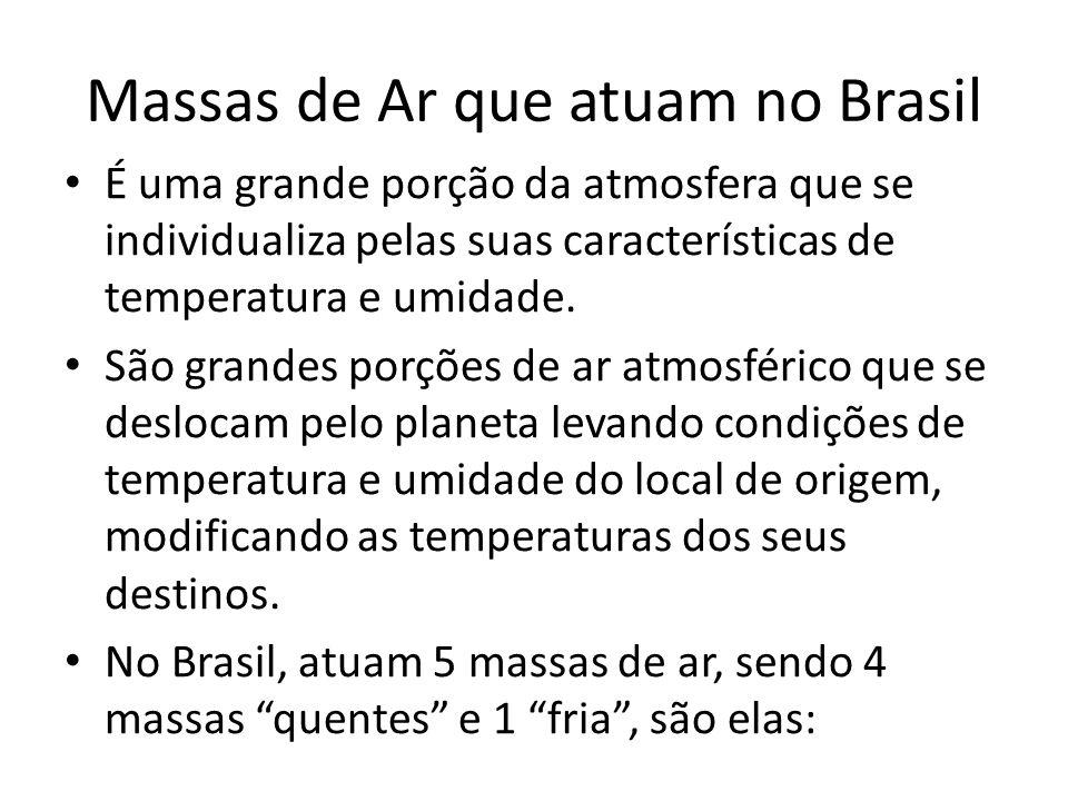 Massas de Ar que atuam no Brasil É uma grande porção da atmosfera que se individualiza pelas suas características de temperatura e umidade.