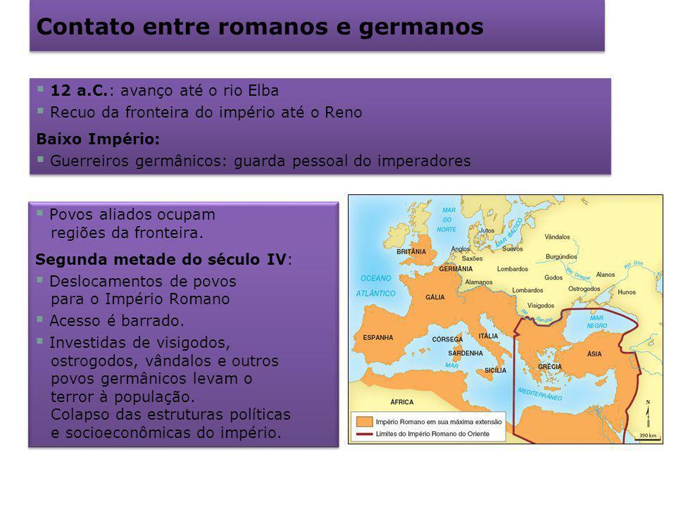 Contato entre romanos e germanos 12 a.C.: avanço até o rio Elba Recuo da fronteira do império até o Reno Baixo Império: Guerreiros germânicos: guarda