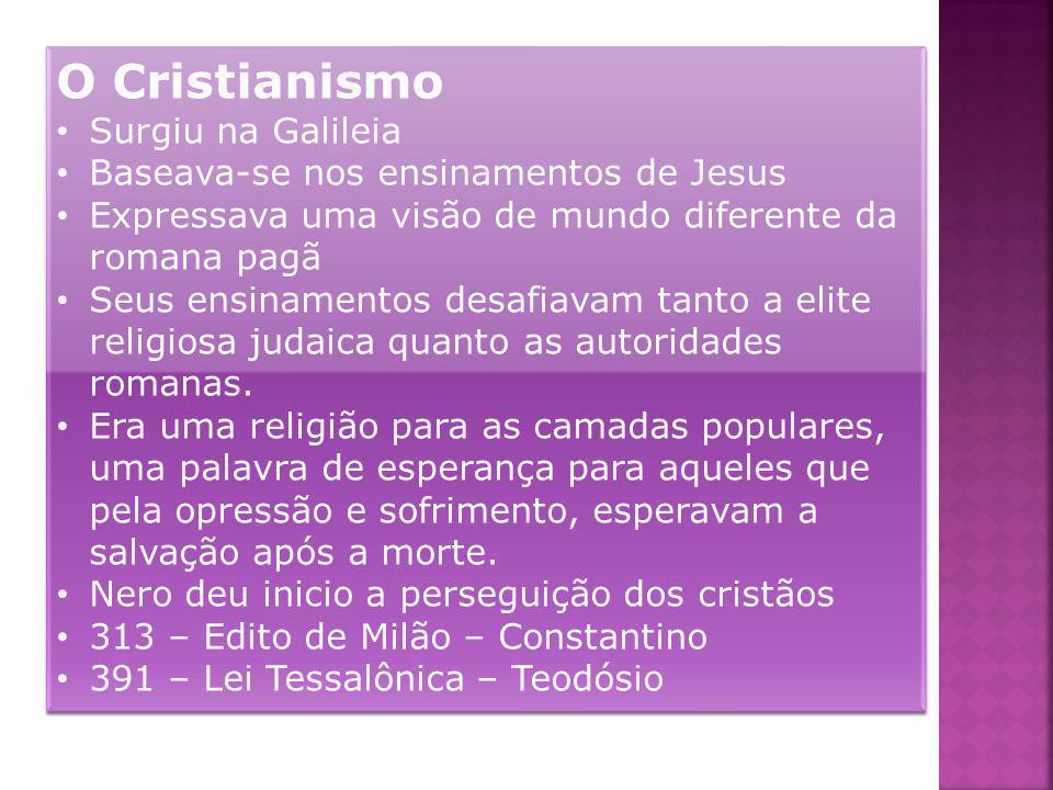 O Cristianismo Surgiu na Galileia Baseava-se nos ensinamentos de Jesus Expressava uma visão de mundo diferente da romana pagã Seus ensinamentos desafi