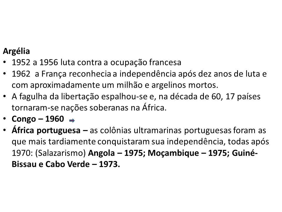 Argélia 1952 a 1956 luta contra a ocupação francesa 1962 a França reconhecia a independência após dez anos de luta e com aproximadamente um milhão e argelinos mortos.