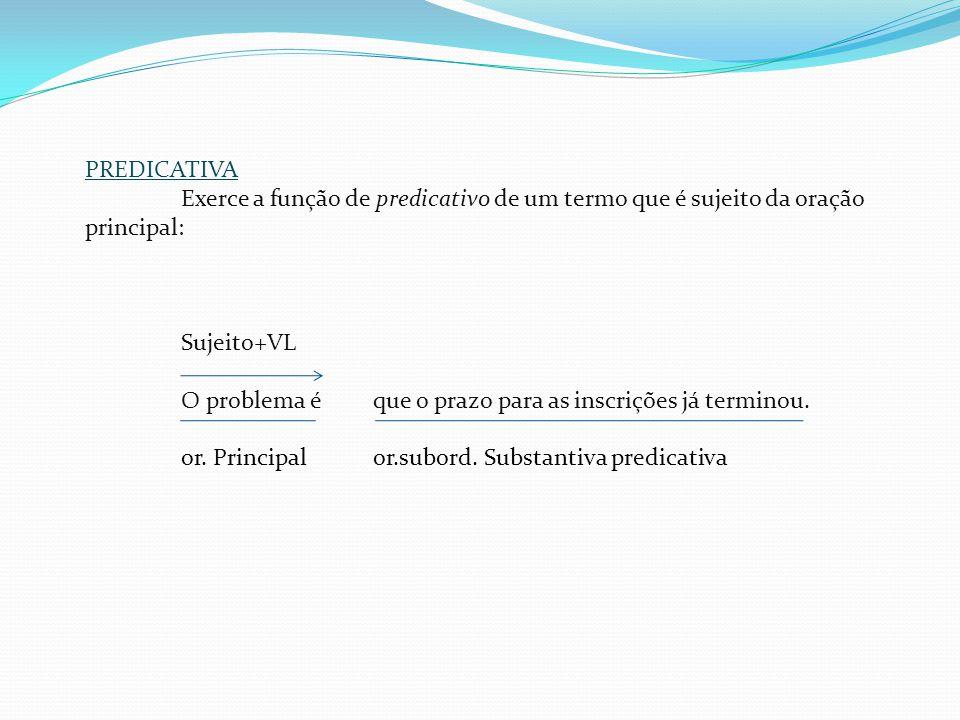 Classificação das orações substantivas SUBJETIVA Exerce a função de sujeito da oração de que depende ou em que se insere: Consta que as contas de água