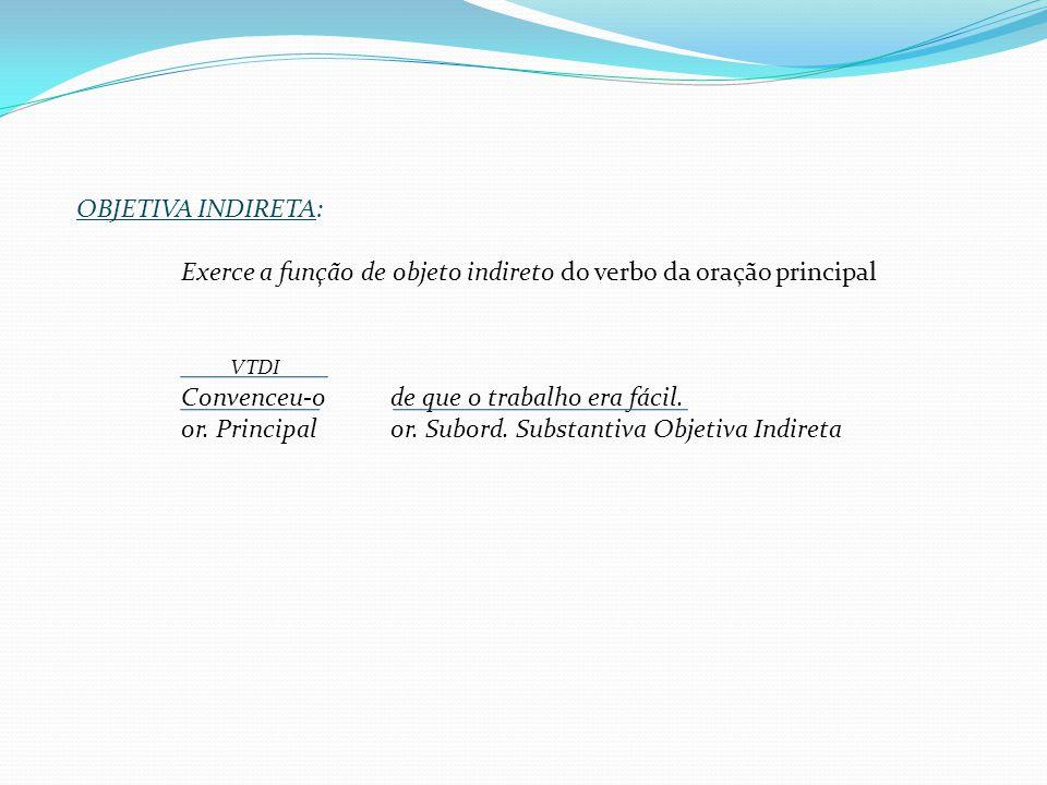 OBJETIVA DIRETA: Exerce a função de objeto direto do verbo da oração principal; VTD Achamosque você deve partir imediatamente. or. Principal or. subor