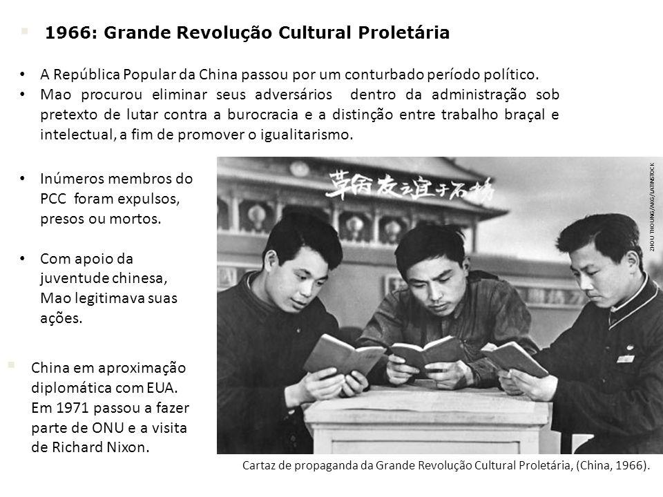 ZHOU THOUNG/AKG/LATINSTOCK Cartaz de propaganda da Grande Revolução Cultural Proletária, (China, 1966). China em aproximação diplomática com EUA. Em 1