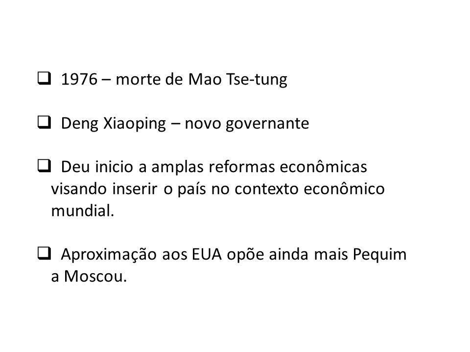 1976 – morte de Mao Tse-tung Deng Xiaoping – novo governante Deu inicio a amplas reformas econômicas visando inserir o país no contexto econômico mund
