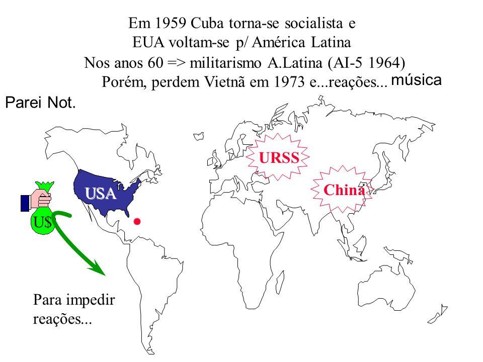Em 1959 Cuba torna-se socialista e EUA voltam-se p/ América Latina URSS China USA U$ Para impedir reações... música Nos anos 60 => militarismo A.Latin