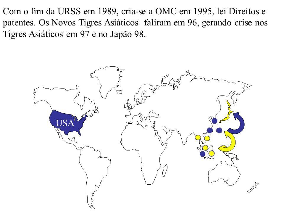 Com o fim da URSS em 1989, cria-se a OMC em 1995, lei Direitos e patentes. Os Novos Tigres Asiáticos faliram em 96, gerando crise nos Tigres Asiáticos