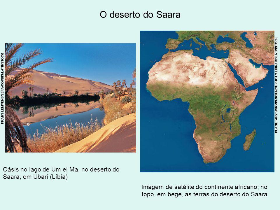 O deserto do Saara Imagem de satélite do continente africano; no topo, em bege, as terras do deserto do Saara Oásis no lago de Um el Ma, no deserto do