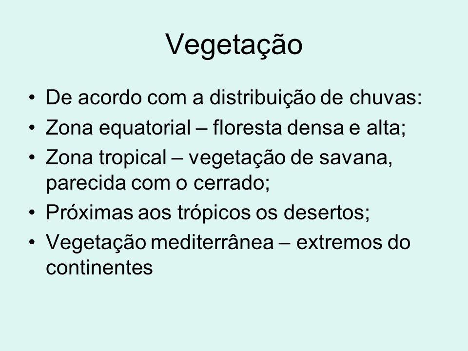 Vegetação De acordo com a distribuição de chuvas: Zona equatorial – floresta densa e alta; Zona tropical – vegetação de savana, parecida com o cerrado