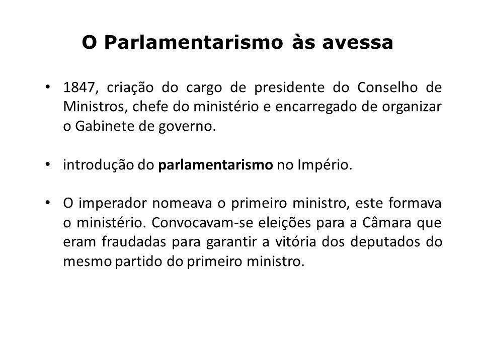 O Parlamentarismo às avessa 1847, criação do cargo de presidente do Conselho de Ministros, chefe do ministério e encarregado de organizar o Gabinete de governo.