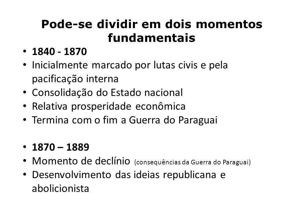 Pode-se dividir em dois momentos fundamentais 1840 - 1870 Inicialmente marcado por lutas civis e pela pacificação interna Consolidação do Estado nacio