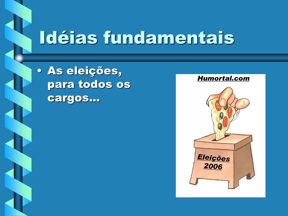 Idéias fundamentais As eleições, para todos os cargos...As eleições, para todos os cargos...