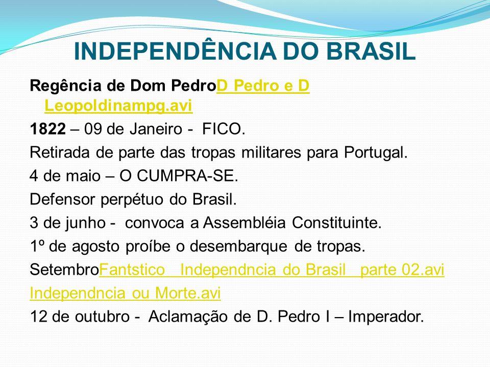 INDEPENDÊNCIA DO BRASIL Regência de Dom PedroD Pedro e D Leopoldinampg.aviD Pedro e D Leopoldinampg.avi 1822 – 09 de Janeiro - FICO. Retirada de parte