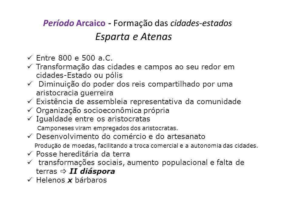 Período Arcaico - Formação das cidades-estados Esparta e Atenas Entre 800 e 500 a.C.