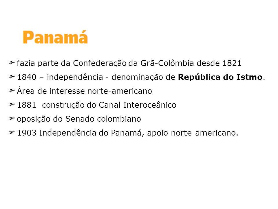 fazia parte da Confederação da Grã-Colômbia desde 1821 1840 – independência - denominação de República do Istmo. Área de interesse norte-americano 188