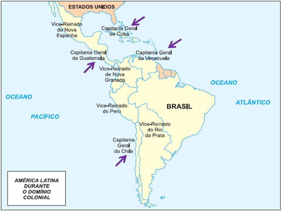 Capitania Geral do Chile subordinada Vice-Reino do Peru isolada em relação aos demais territórios economia agropecuária e comercial monopolizada pelos criollos 1808 Bernardo O Higgins, declara a independência (foi contestado pela Espanha) 1818 – independência definitiva
