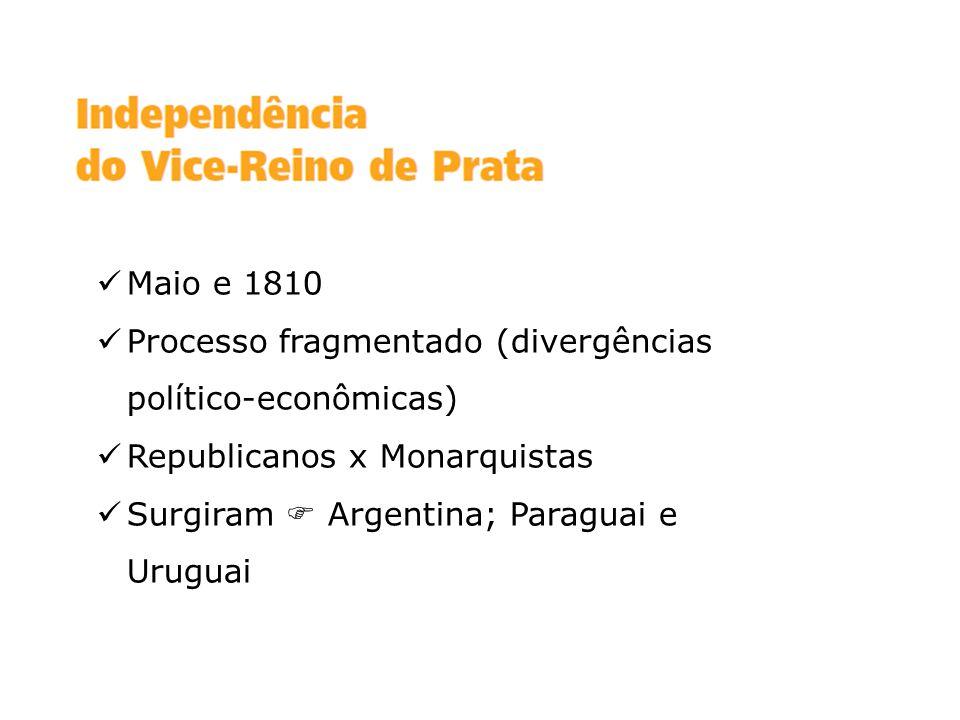 Maio e 1810 Processo fragmentado (divergências político-econômicas) Republicanos x Monarquistas Surgiram Argentina; Paraguai e Uruguai