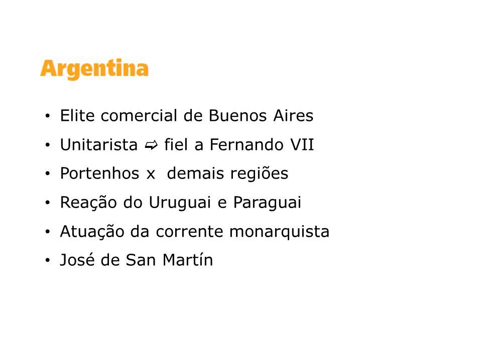 Elite comercial de Buenos Aires Unitarista fiel a Fernando VII Portenhos x demais regiões Reação do Uruguai e Paraguai Atuação da corrente monarquista