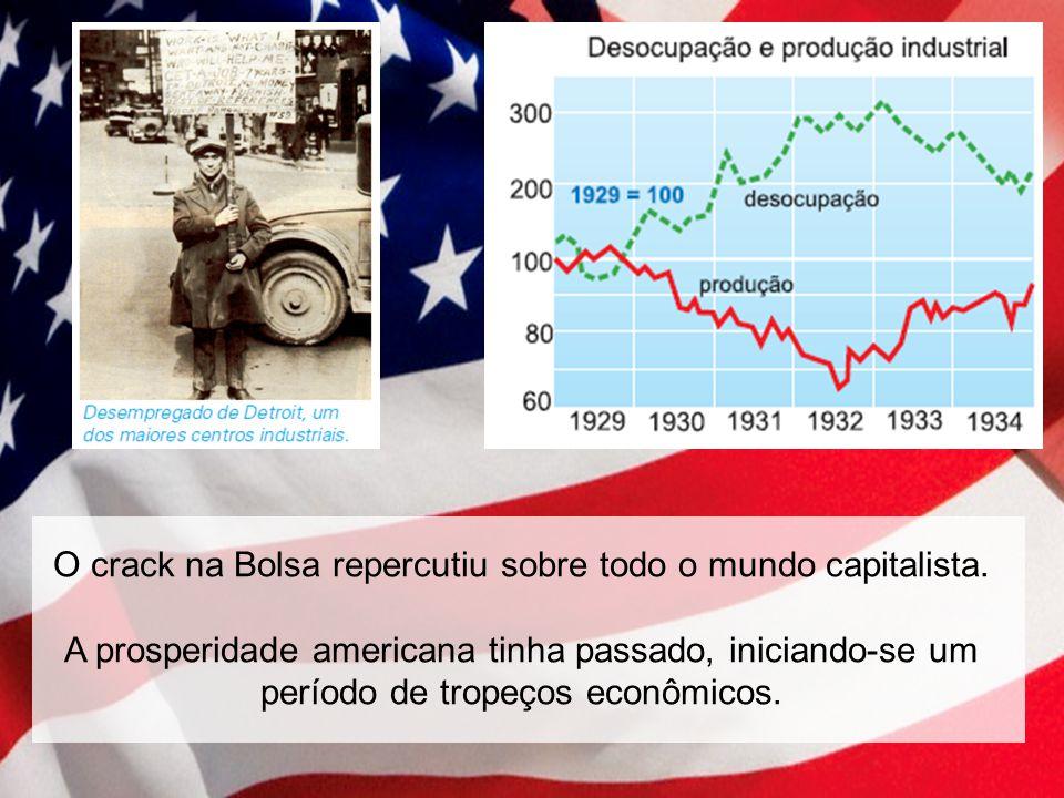 O crack na Bolsa repercutiu sobre todo o mundo capitalista. A prosperidade americana tinha passado, iniciando-se um período de tropeços econômicos.