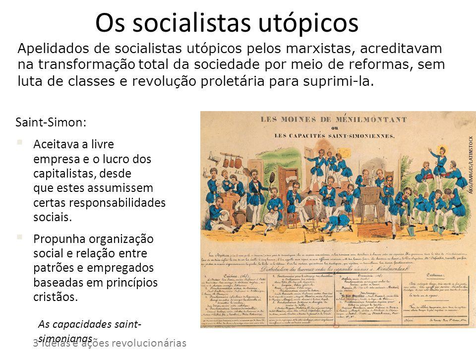 Os socialistas utópicos Apelidados de socialistas utópicos pelos marxistas, acreditavam na transformação total da sociedade por meio de reformas, sem