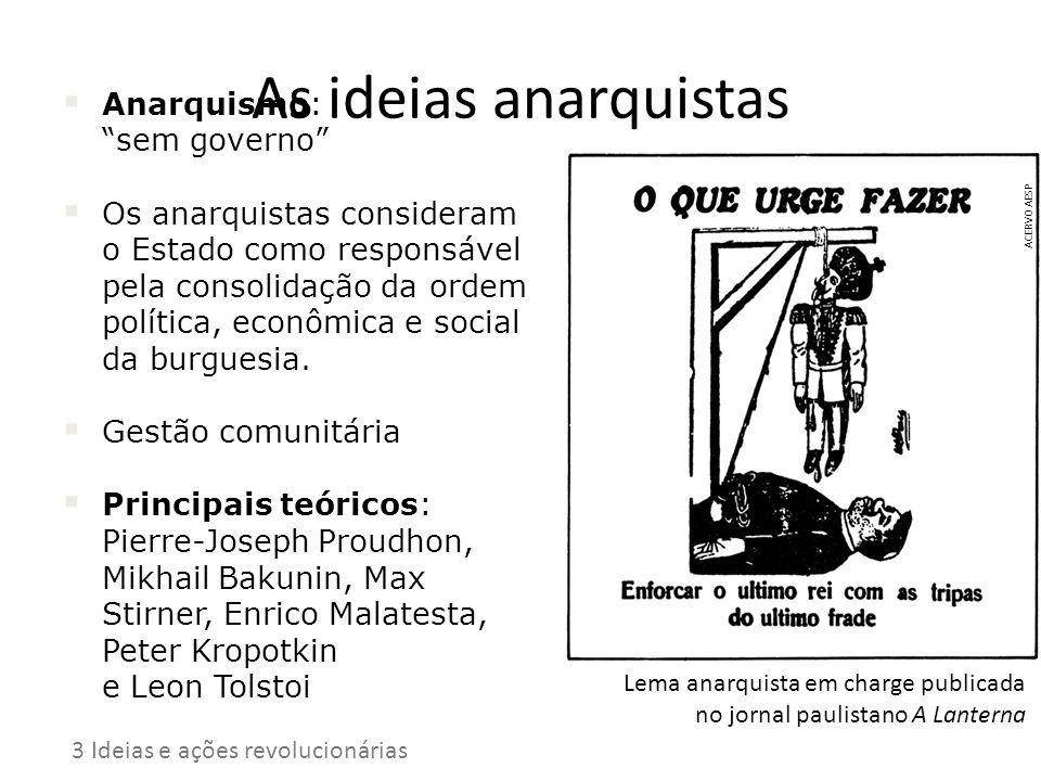 As ideias anarquistas Anarquismo: sem governo Os anarquistas consideram o Estado como responsável pela consolidação da ordem política, econômica e soc