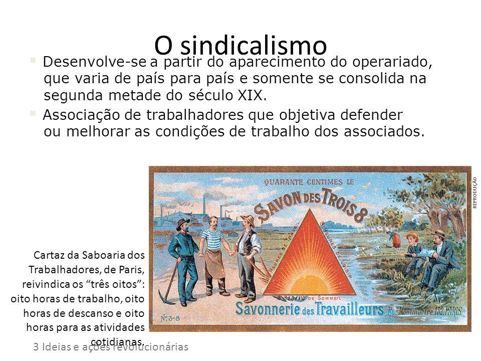 O sindicalismo Desenvolve-se a partir do aparecimento do operariado, que varia de país para país e somente se consolida na segunda metade do século XI