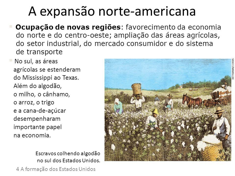 A expansão norte-americana Ocupação de novas regiões: favorecimento da economia do norte e do centro-oeste; ampliação das áreas agrícolas, do setor in
