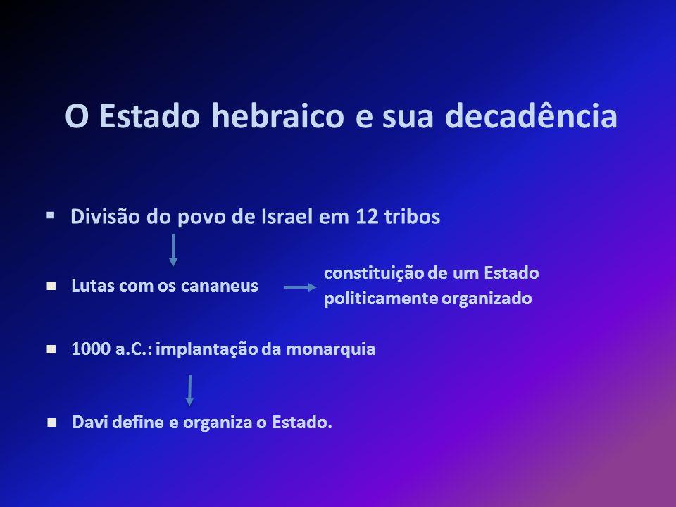 O Estado hebraico e sua decadência Divisão do povo de Israel em 12 tribos constituição de um Estado politicamente organizado Lutas com os cananeus 1000 a.C.: implantação da monarquia Davi define e organiza o Estado.