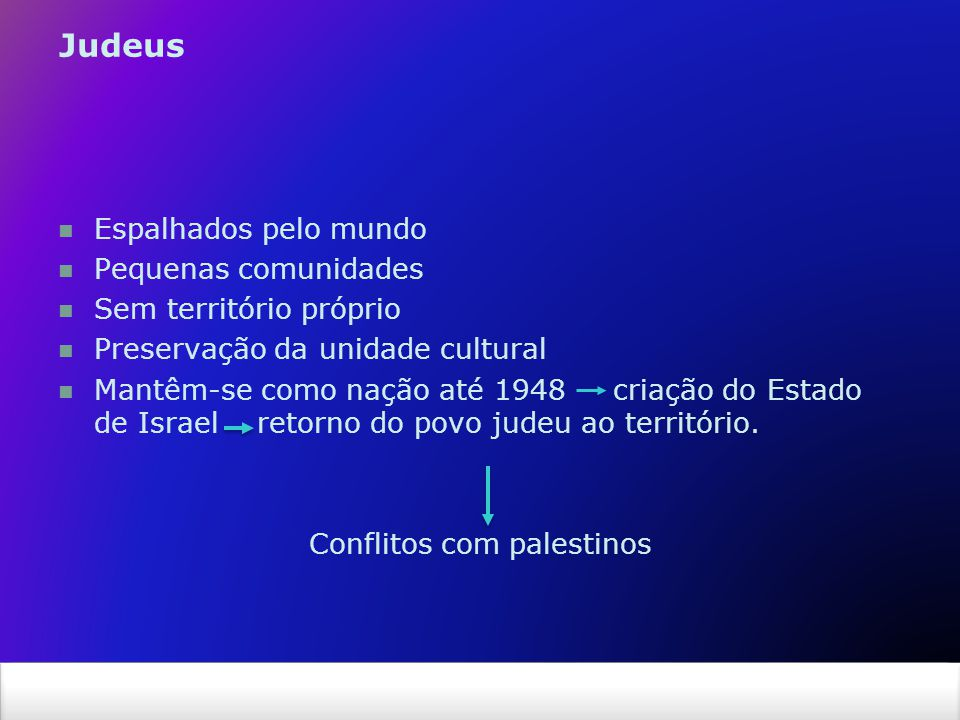 X SAIR Espalhados pelo mundo Pequenas comunidades Sem território próprio Preservação da unidade cultural Mantêm-se como nação até 1948 criação do Estado de Israel retorno do povo judeu ao território.