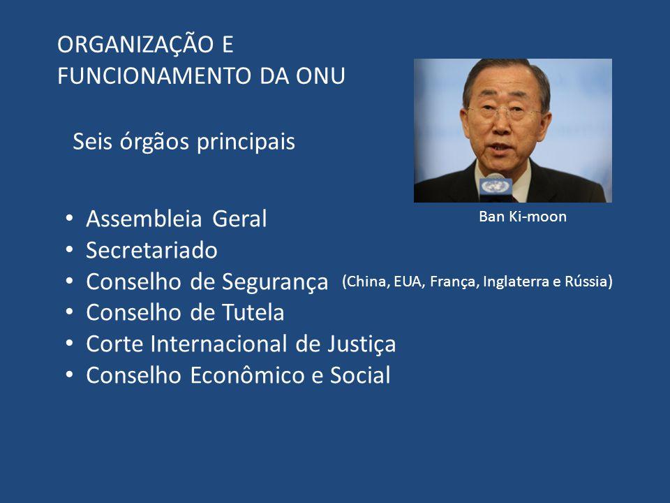ORGANIZAÇÃO E FUNCIONAMENTO DA ONU Seis órgãos principais Assembleia Geral Secretariado Conselho de Segurança Conselho de Tutela Corte Internacional d