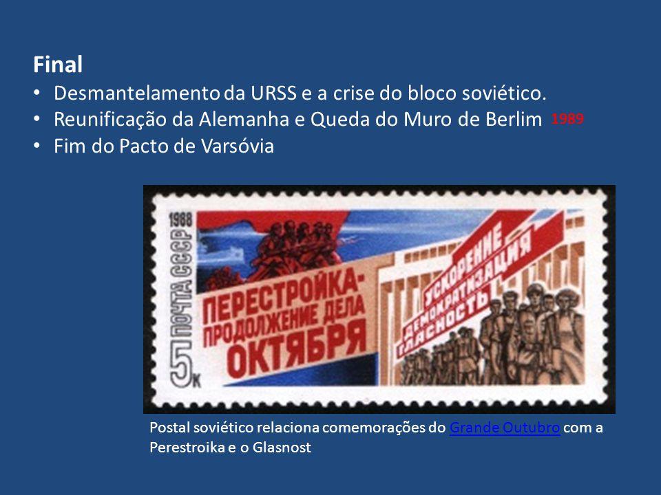 Final Desmantelamento da URSS e a crise do bloco soviético. Reunificação da Alemanha e Queda do Muro de Berlim Fim do Pacto de Varsóvia 1989 Postal so