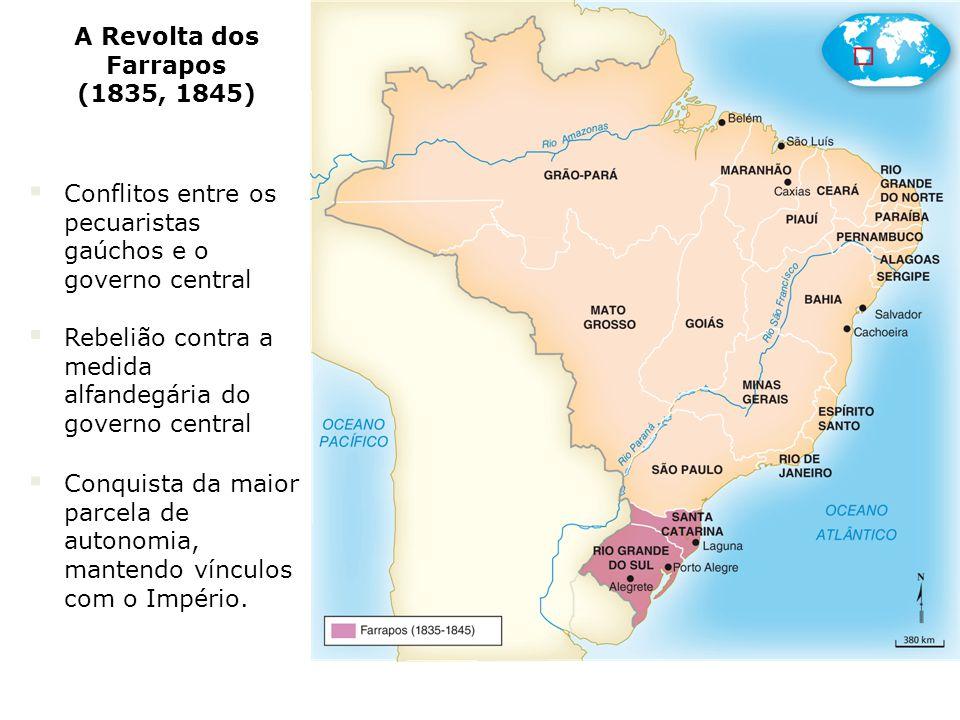 Conflitos entre os pecuaristas gaúchos e o governo central Rebelião contra a medida alfandegária do governo central Conquista da maior parcela de autonomia, mantendo vínculos com o Império.