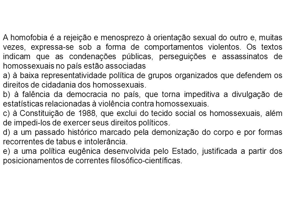 A homofobia é a rejeição e menosprezo à orientação sexual do outro e, muitas vezes, expressa-se sob a forma de comportamentos violentos. Os textos ind