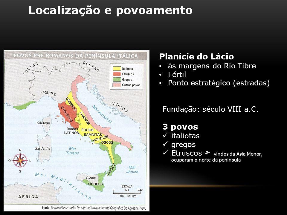 Localização e povoamento Planície do Lácio às margens do Rio Tibre Fértil Ponto estratégico (estradas) Fundação: século VIII a.C. 3 povos italiotas gr
