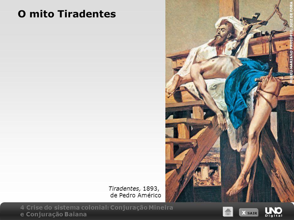X SAIR O mito Tiradentes Tiradentes, 1893, de Pedro Américo MUSEU MARIANO PROCÓPIO, JUIZ DE FORA 4 Crise do sistema colonial: Conjuração Mineira e Con
