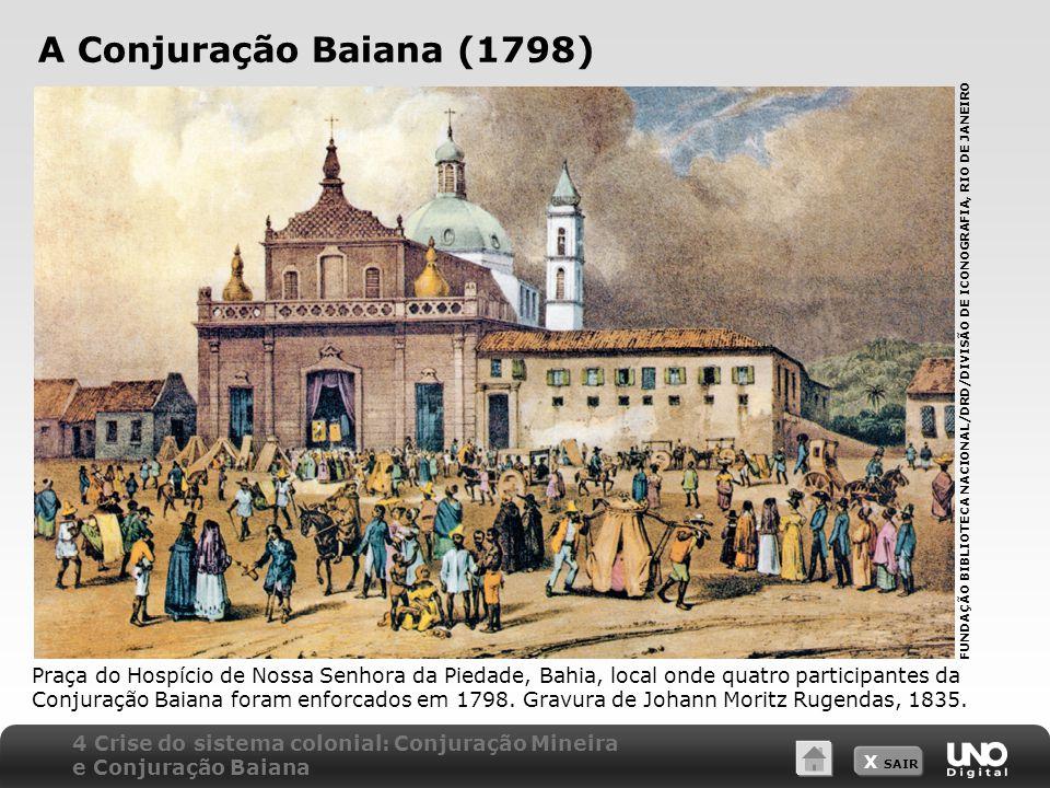 X SAIR A Conjuração Baiana (1798) Praça do Hospício de Nossa Senhora da Piedade, Bahia, local onde quatro participantes da Conjuração Baiana foram enf