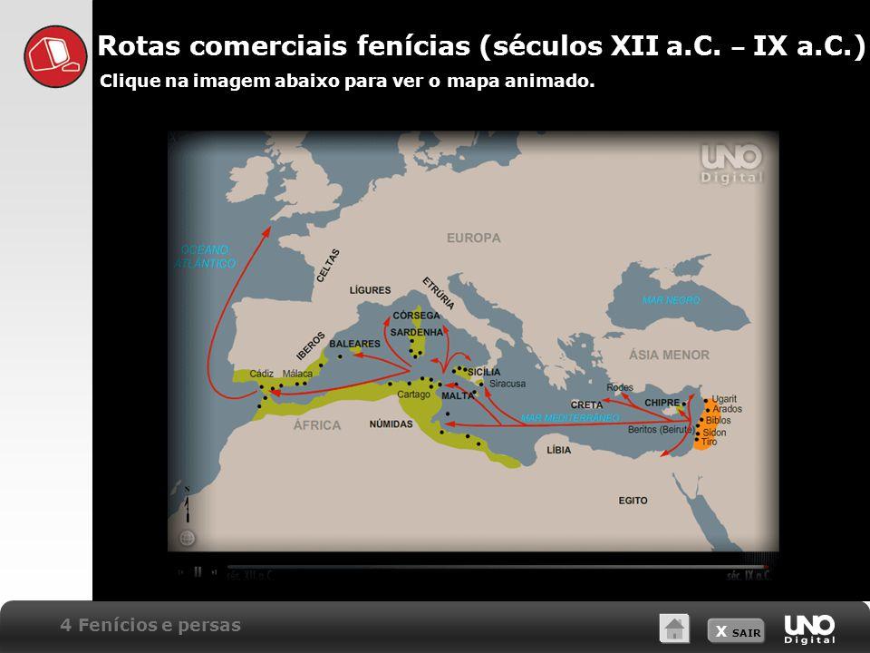 X SAIR 4 Fenícios e persas Rotas comerciais fenícias (séculos XII a.C.