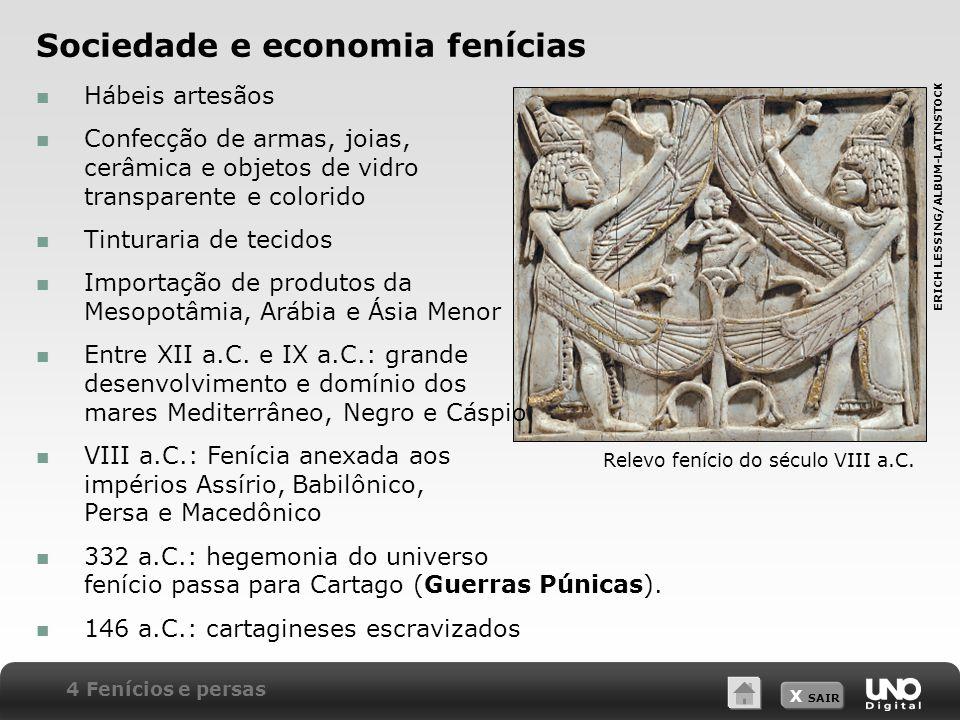 X SAIR Sociedade e economia fenícias Relevo fenício do século VIII a.C.
