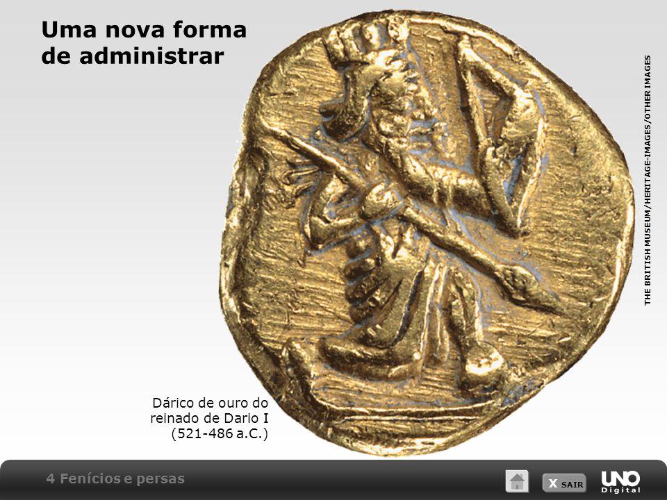 X SAIR 4 Fenícios e persas Dárico de ouro do reinado de Dario I (521-486 a.C.) THE BRITISH MUSEUM/HERITAGE-IMAGES/OTHER IMAGES Uma nova forma de administrar
