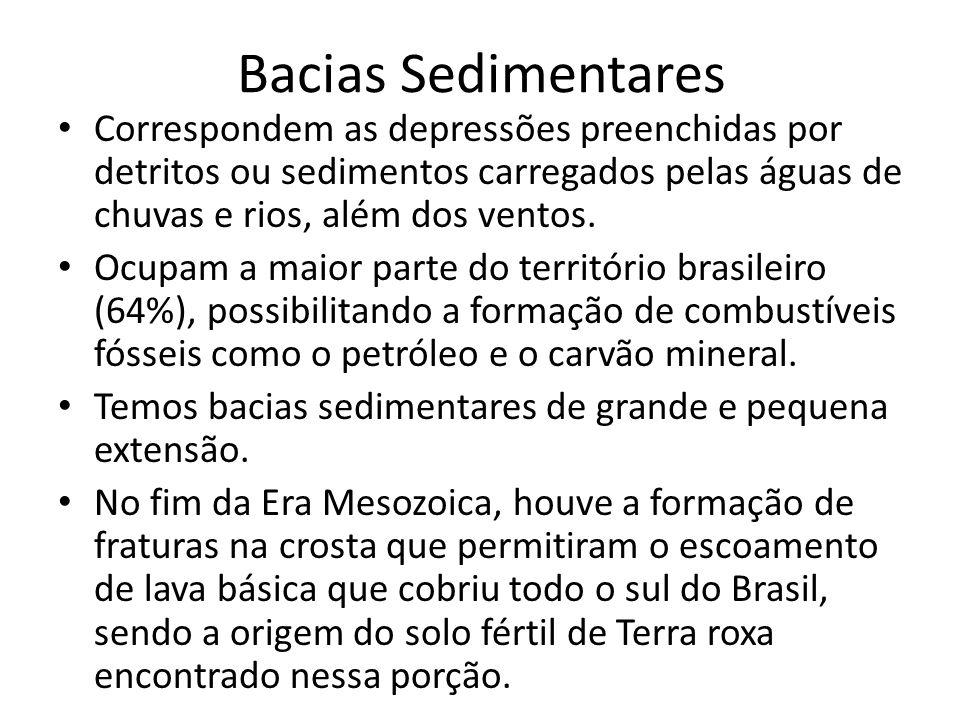 Bacias Sedimentares Correspondem as depressões preenchidas por detritos ou sedimentos carregados pelas águas de chuvas e rios, além dos ventos. Ocupam
