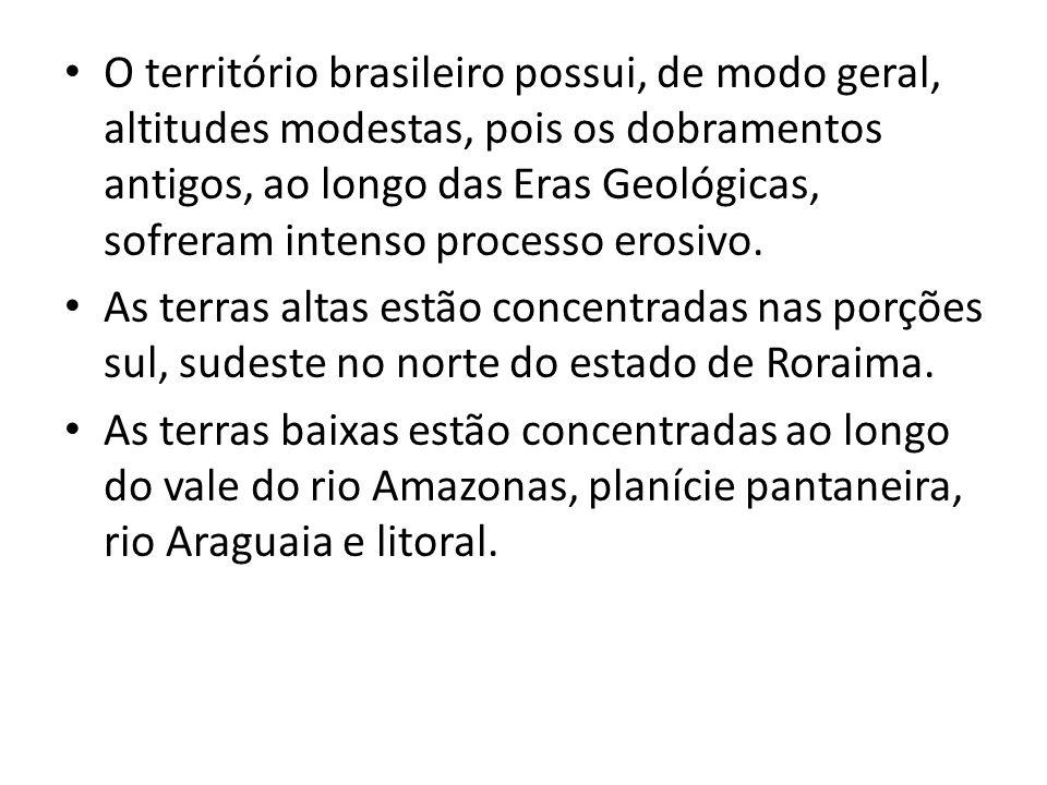 O território brasileiro possui, de modo geral, altitudes modestas, pois os dobramentos antigos, ao longo das Eras Geológicas, sofreram intenso process