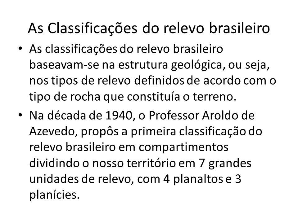 As Classificações do relevo brasileiro As classificações do relevo brasileiro baseavam-se na estrutura geológica, ou seja, nos tipos de relevo definid
