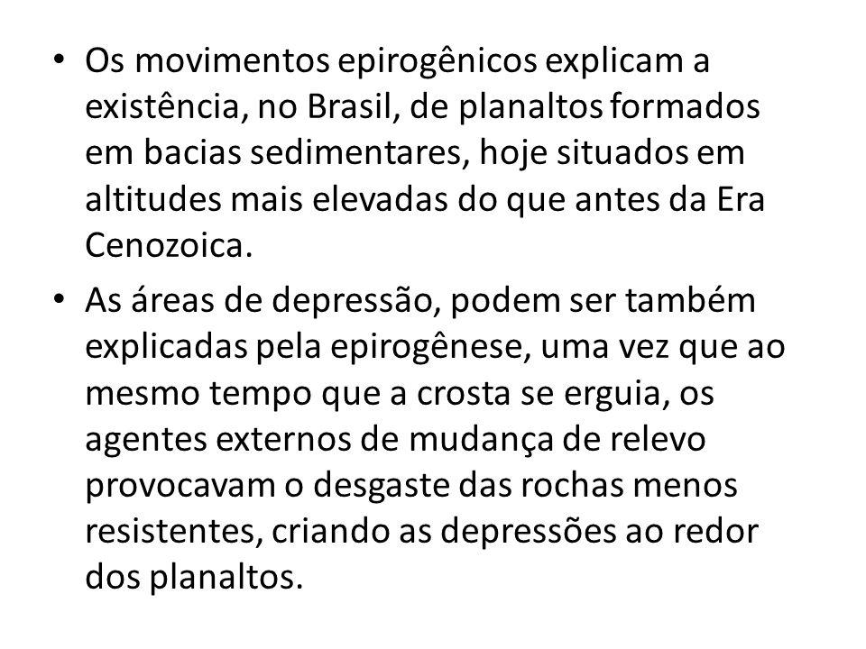 Os movimentos epirogênicos explicam a existência, no Brasil, de planaltos formados em bacias sedimentares, hoje situados em altitudes mais elevadas do