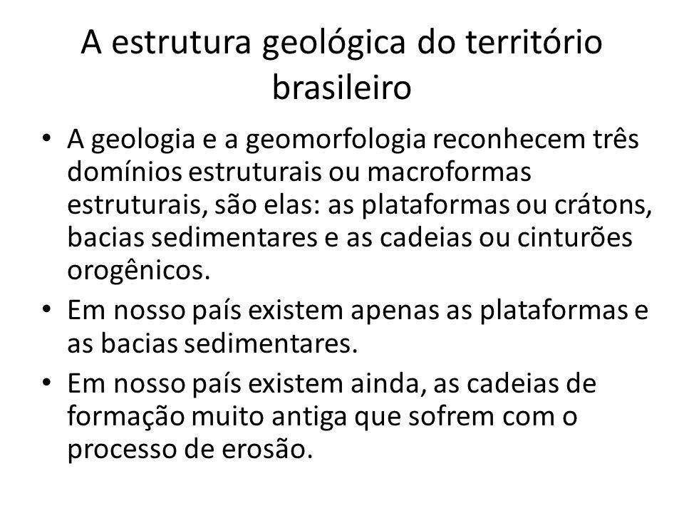 A estrutura geológica do território brasileiro A geologia e a geomorfologia reconhecem três domínios estruturais ou macroformas estruturais, são elas: