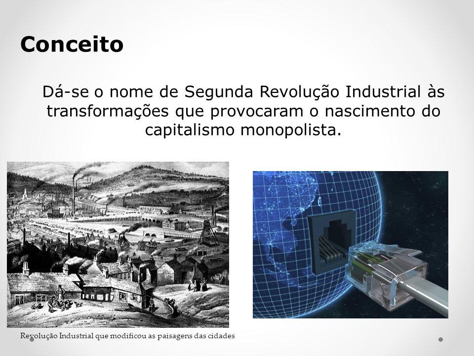 Conceito Dá-se o nome de Segunda Revolução Industrial às transformações que provocaram o nascimento do capitalismo monopolista. Revolução Industrial q