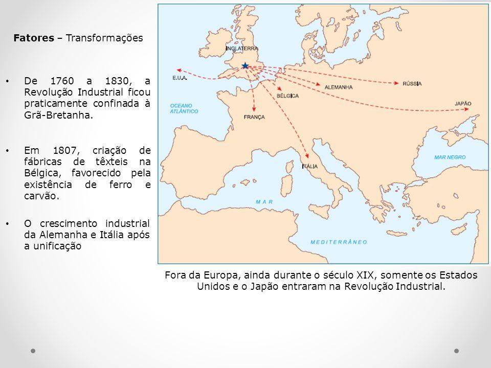 De 1760 a 1830, a Revolução Industrial ficou praticamente confinada à Grã-Bretanha. Em 1807, criação de fábricas de têxteis na Bélgica, favorecido pel