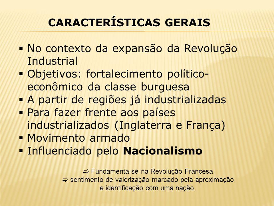 CARACTERÍSTICAS GERAIS No contexto da expansão da Revolução Industrial Objetivos: fortalecimento político- econômico da classe burguesa A partir de re